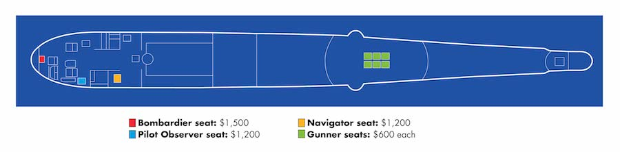 B-29 Doc Flight Experience seating chart.